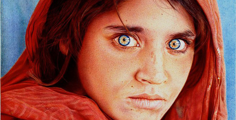 """Afghan Girl"" Redone Using Ball-Point Pen"