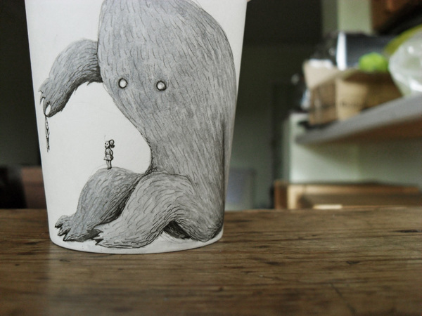Marija Tiurina's Quirky Coffee Cup Art