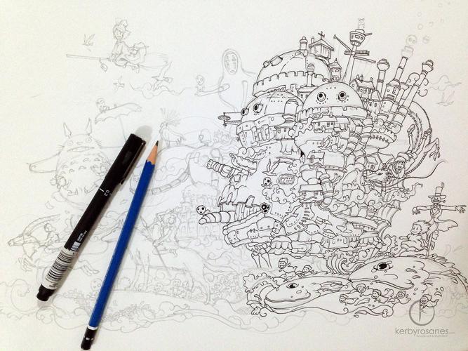 Kerby Rosanes's Hayao Miyazaki Inspired Doodles