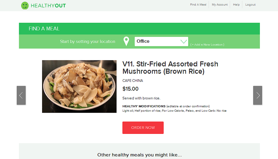 HealthyOut, a Diet App for Lazy People