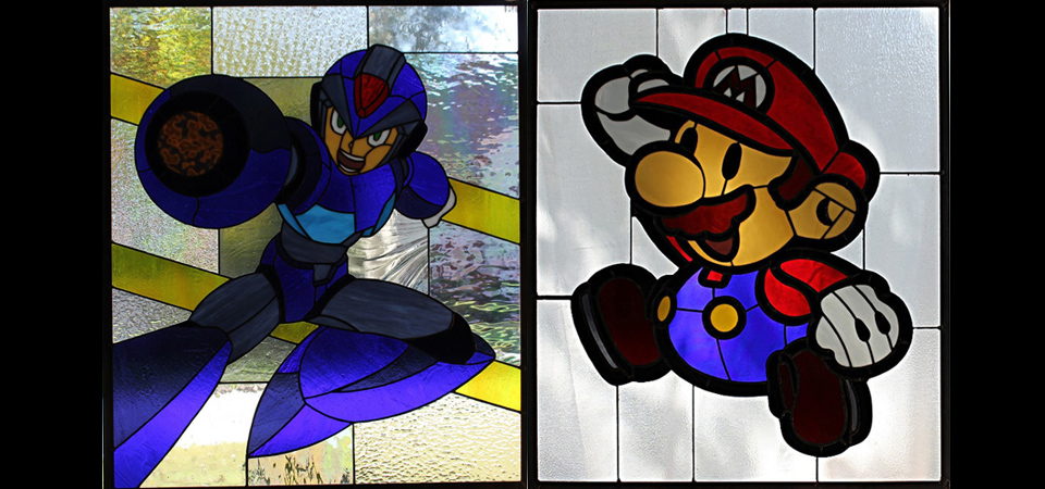 Stained Glass Versions of Your Favorite Video Game Characters