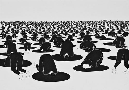 Daehyun Kim's Monochromatic Drawings of Surreal Situations