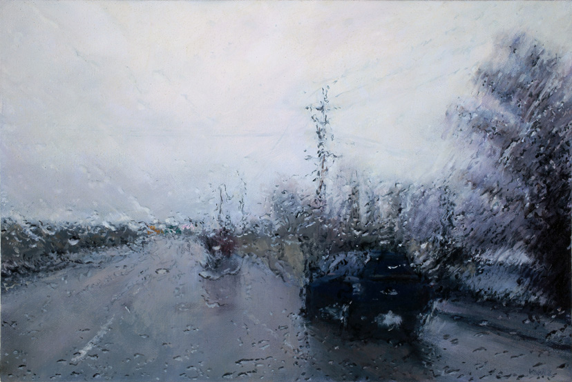 Realistic Paintings of Rain-Soaked Windshields